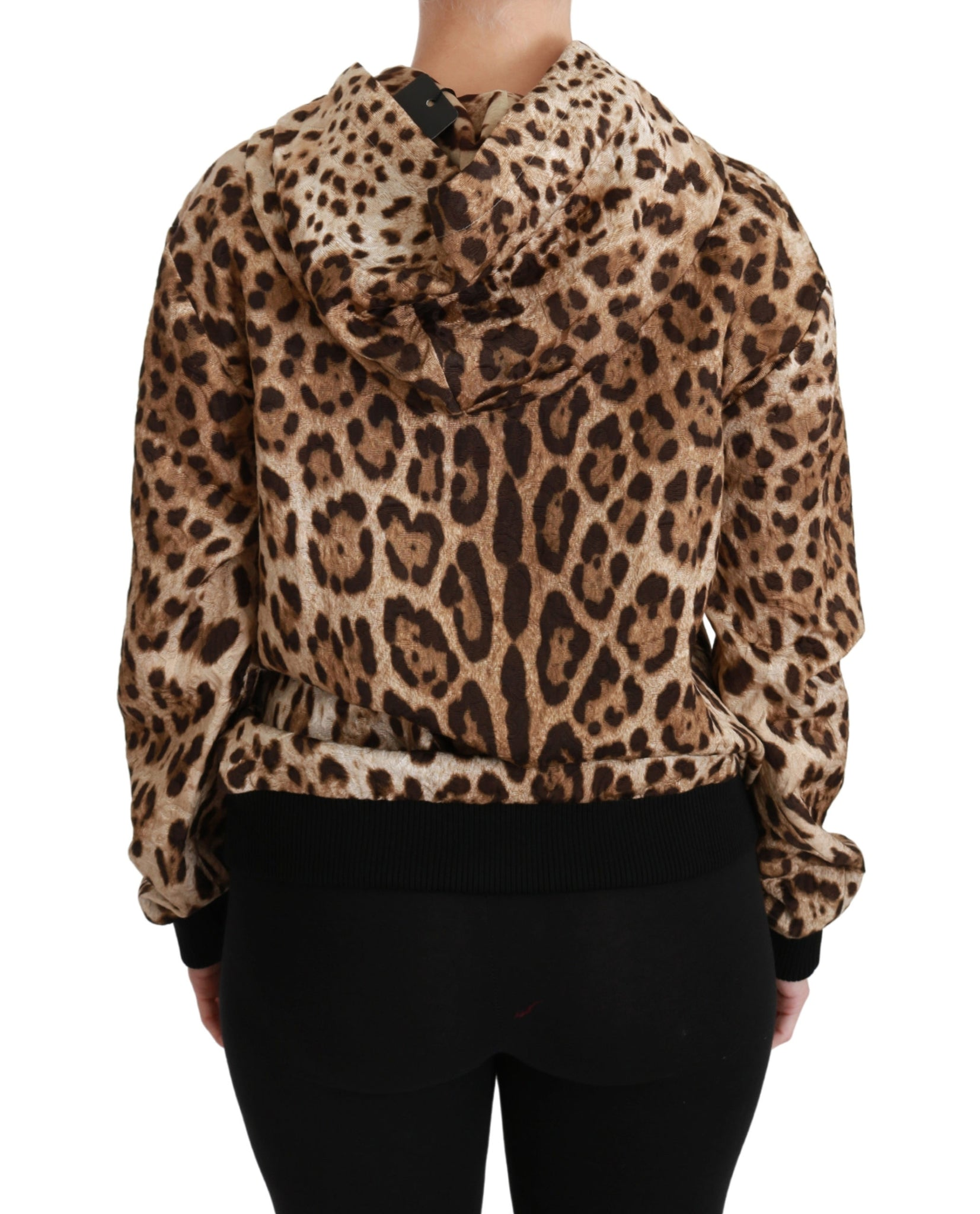 Brown Hooded Studded Ayers Leopard Sweater