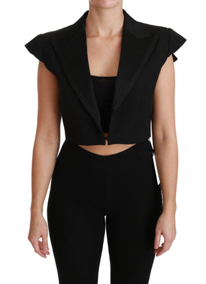 Black Sleeveless Cropped Blazer Wool Jacket