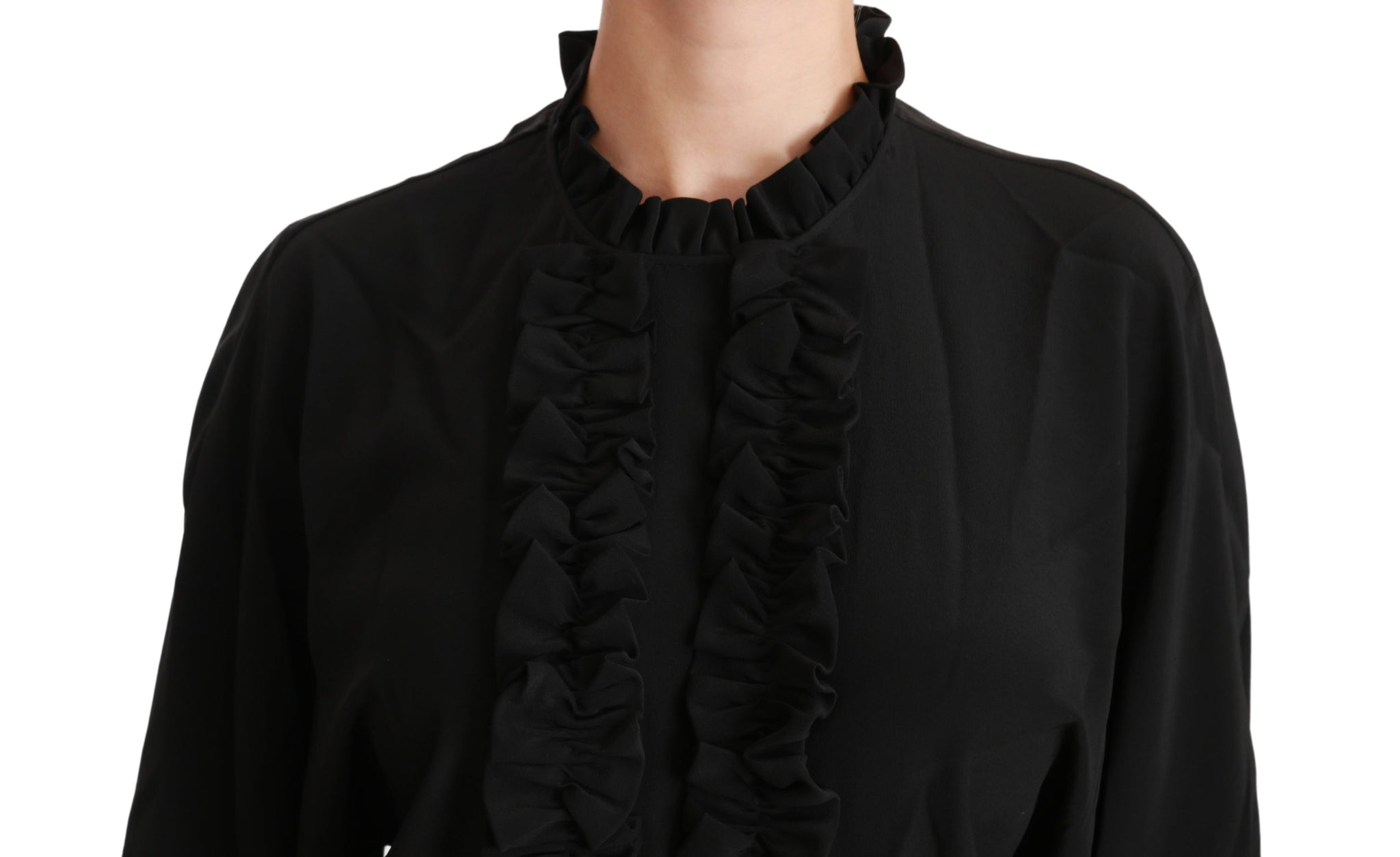Black Silk Shirt Ruffled Top Blouse
