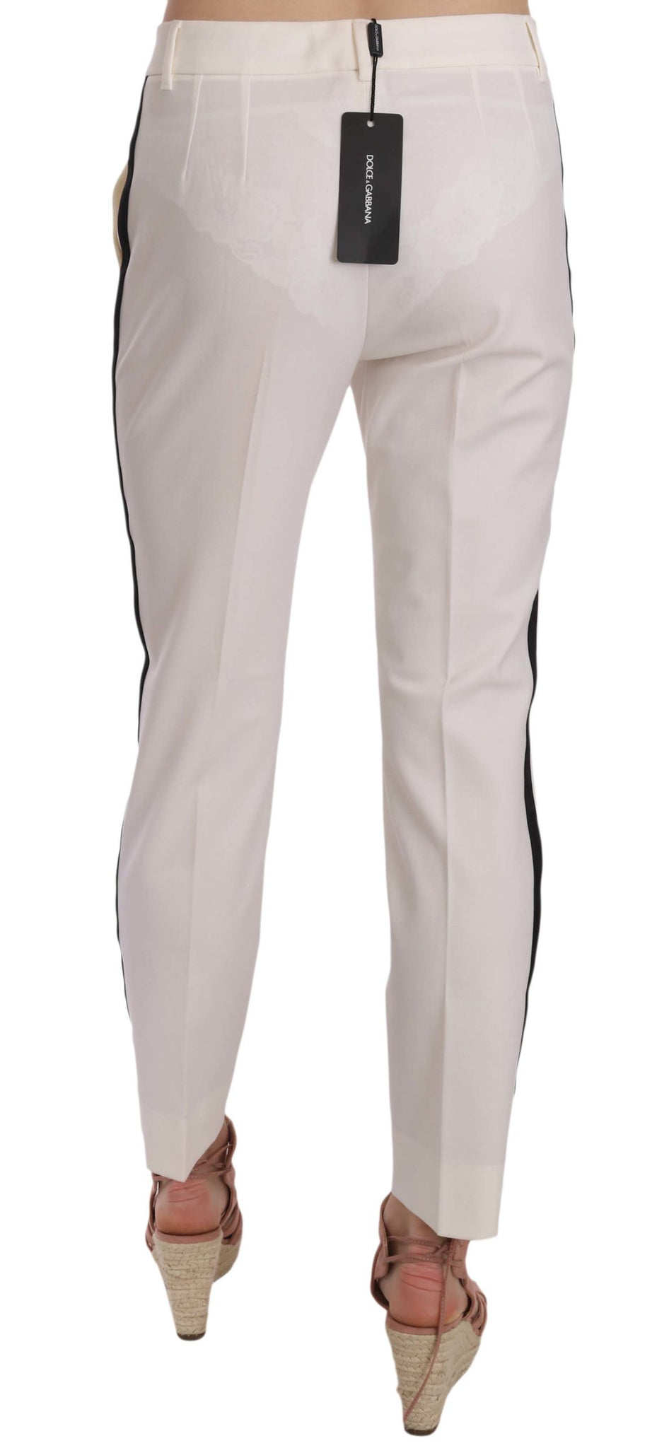 White Side Stripe Wool Tapered Trouser Pants