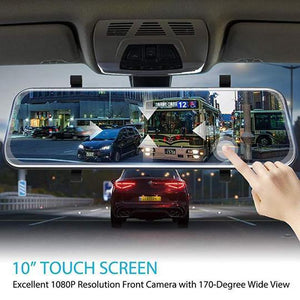 "Latest 10"" Full-Screen LCD Rearview Mirror, Front And Rear Car Recorder"