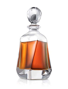 Aurora Whiskey Decanter – 25 oz Crystal Modern Decanter – Non-Lead Small Liquor Decanter with Stopper