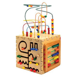 Constructive Playthings ANA-94 Anatex Wooden 5 'N 1 Interactive Activity Cube for Kids