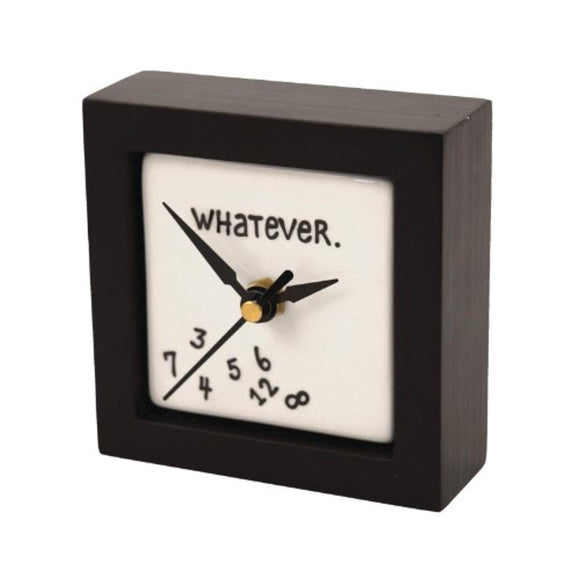 """Whatever"" Battery-Operated Square Desk or Wall Clock, 4 Inches"