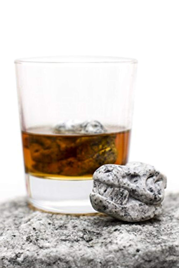 Whiskey Bones Whiskey Stones Granite TRex Skulls (Set of 2)