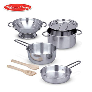 Melissa & Doug Let's Play House! Stainless Steel Pots & Pans Play Set for Kids