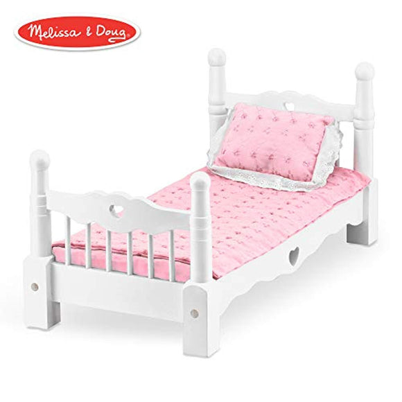 Melissa & Doug White Wooden Doll Bed With Bedding,