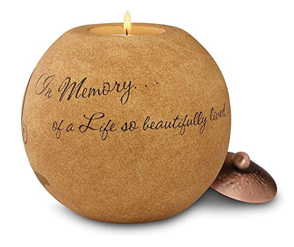 Comfort Candles 5-Inch Round Tea Light Holder, in Memory