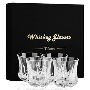 Whiskey Glass, Tifanso Set of 4 Scotch Glasses, Rock Style Old Fashioned