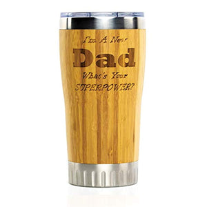 New Dad Stainless Steel Travel Coffee Mug with Spill Proof Lid | Bamboo Wrapped Cup with Engraved Lettering | Comes in Gift Box