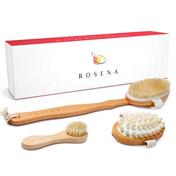 Dry Brushing Body Brush Set - Best for Cellulite, Lymphatic Drainage