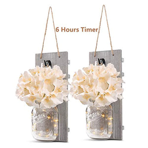 GBtroo Rustic Wall Sconces - Mason Jars Sconce, Rustic Home Decor,Wrought Iron Hooks, Silk Hydrangea and LED Strip Lights Design 6 Hour Timer Home Decoration (Set of 2)