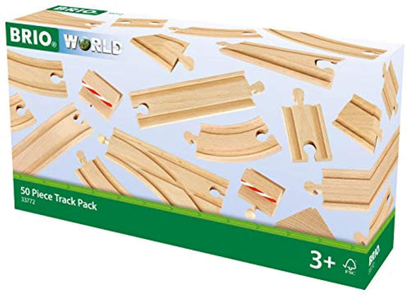 BRIO 33772 Special Track Pack | 50 Pieces of Wooden Tracks and Train Accessories for Kids