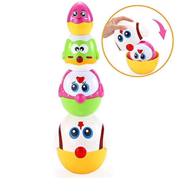 VATOS Nesting Plastic Eggs Toy, Eggs Stacking Toy, Stacker Toys for 18 Months