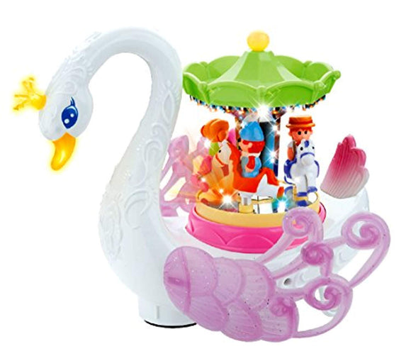 PowerTRC Musical Swan Rotating Carousel, Bump and Go Toy, Lights Pp and Makes Music