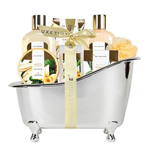 Spa Luxetique Spa Gift Basket Vanilla Fragrance, Luxurious 8pc Gift Baskets for Women