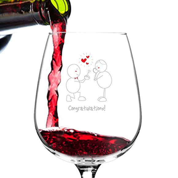 Congratulations! Engagement Wine Glass- 12.75 oz. - Romantic Red or White Wine Glass Gift - Made in USA
