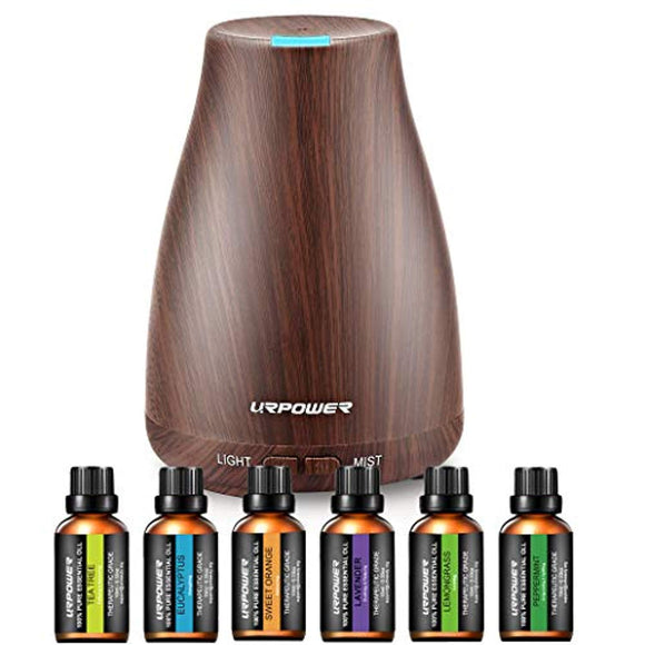 URPOWER Classical Essential Oil Diffuser with 6 Bottles 100% Pure Essential Oils