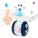 Tinabless Baby Musical Toys, Cow Baby Tumbler Toy with Music and LED Light Up for Infants