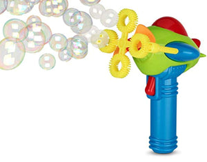 Bubble Gun Blower for Kids (Boys & Girls) - Non-Toxic | Dip&Press with Fan | Toy Blaster with Soap Solution | 4 Wands Ring Shooter