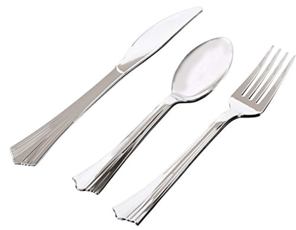 200 Pieces Silver Hard Plastic Cutlery Set By Oasis Creations