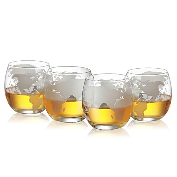 Etched World Globe Glasses 12 oz -Set of 4 by The Wine Savant, Whiskey Scotch, Vodka Water