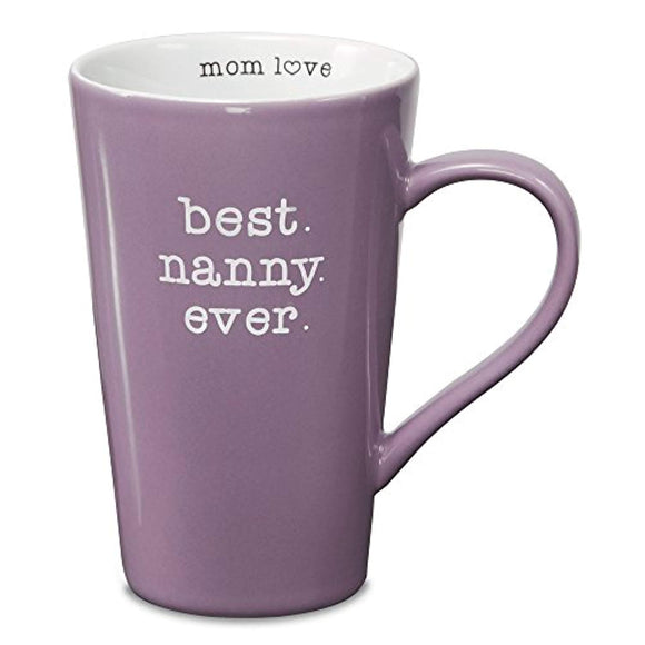 Pavilion Gift Company Mom Love Best Nanny Ever Latte Coffee Mug, Purple