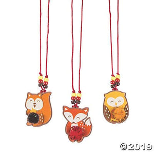 Fun Express 12 - Fall Character Pom Pom Necklace Craft Kits