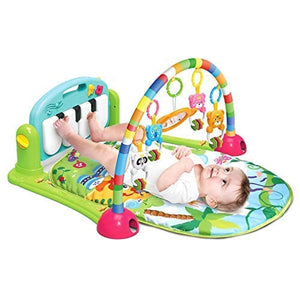 Chanys Baby Piano Activity Play Mat Kick and Play Gym with Hanging Toys and Mirror