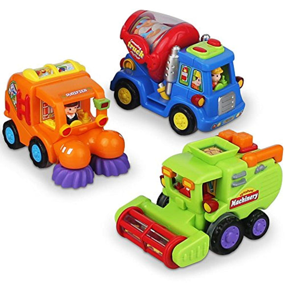 CifToys Push and Go Friction Powered Car Toys for Boys - Construction Vehicles Toys for 1 Year Old Boys