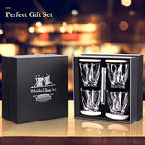 Whiskey Glass Set of 4 - Crystal Clear Twist Scotch Glasses 10 oz Lead-Free Glassware
