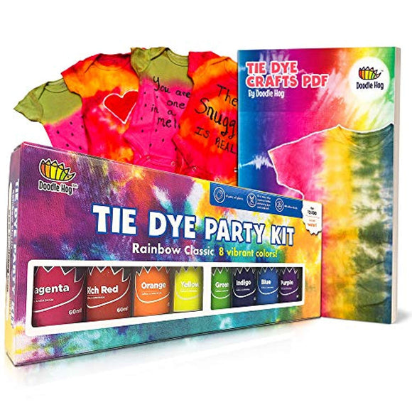 Doodlehog Easy Tie Dye Party Kit for Kids, Adults, and Groups