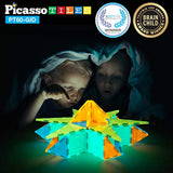PicassoTiles Kids Toy Building Block Set Glow in The Dark Children Construction Kit Magnet