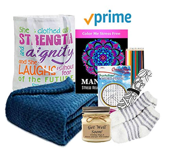 Get Well Gift for Women - Get Well Soon Basket with Prime & an Ultra Plush Blanket
