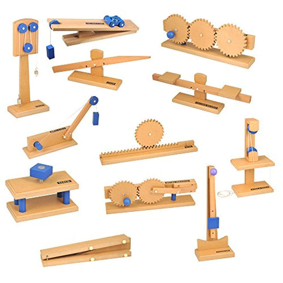 hand2mind Wood Simple Machine Collection with Inclined Plane and Cart, Double Pulley, Lever