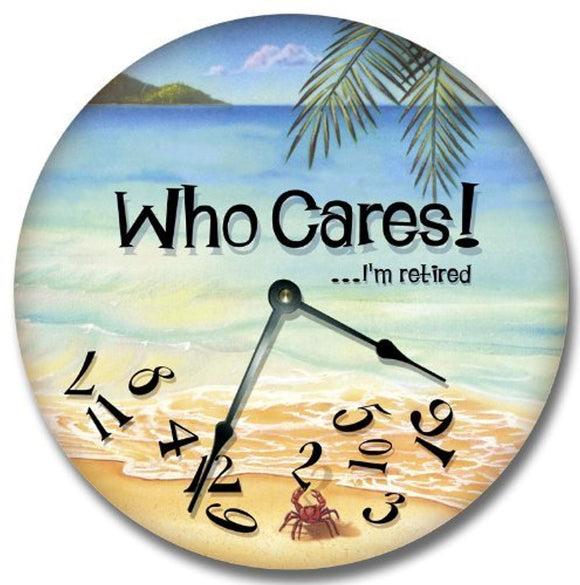 Fancy This WHO CARES.I'm retired wall art clock novelty large 10 1/2