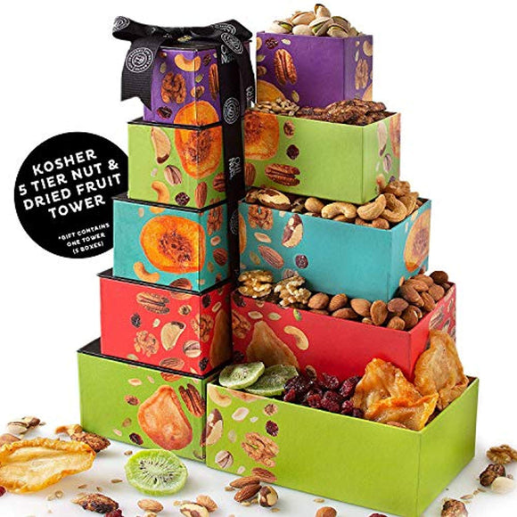 Christmas Nut & Dried Fruit Gift Tower, Gourmet Holiday Assortment Food Tower Set
