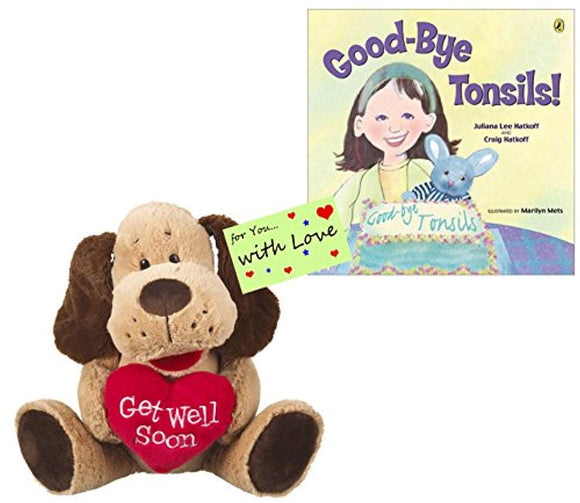 Tonsillectomy Gift : Ganz Get Well Soon Woofie Dog with Red Heart