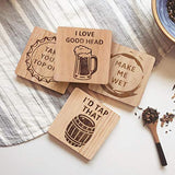 Funny Beer Coasters Set of 4 Wood Square Drink, Home Bar, Brewery Gifts