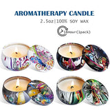 Scented Candles Gift Sets, Natural Soy Wax Aromatherapy Candles Portable Travel Tin Candles Women Gift