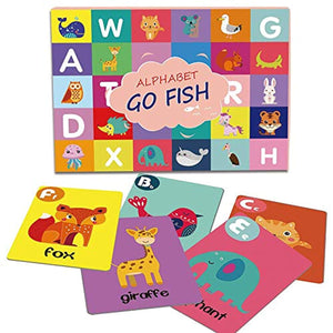 Alphabet Go Fish Flash Cards, Educational ABC Letters Animals Learning Memory Matching Card Game