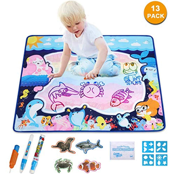 Large Aqua Doodle Mermaid Water Drawing Mat Rainbow Color Painting Board