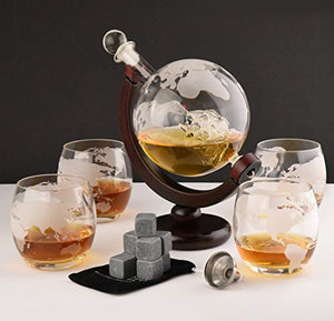 Whiskey Decanter Set - Globe Glasses