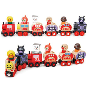 RARITY-US Kids Wooden Magnetic Train Set Toys Collection Removable Toy with Cartoon Driver for Boys Toddlers preschoolers