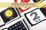Baby First Soft Activity Cloth Book Set, High Contrast Black and White Interactive Crinkle Soft Book Bundle for Infant