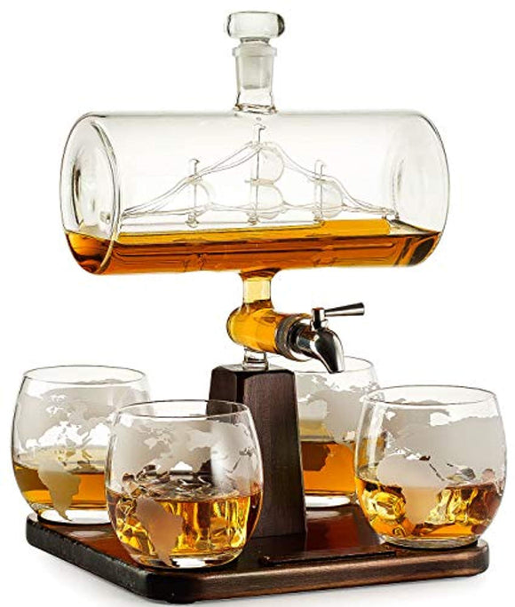 Whiskey Decanter with Antique Ship - The Wine Savant Ship Decanter Set with 4 Globe Glasses