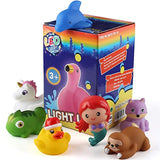 Bath Toy, 12 Pack Light up Animal with Gift Box, Floating Rubber Auto Flashing Color Tub Toys
