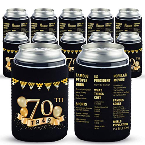 Yangmics 70th Birthday Can Cooler Sleeves Pack of 12-1949 Sign - 70th Anniversary Decorations - Dirty 70th Birthday Party Supplies