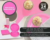 Pink Party Supplies - 24-Set Paper Tableware