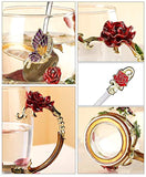 Flower Glass Tea Mug with Spoon, Lead Free Handmade Enamel Rose and Butterfly Clear Glass Coffee Cup with Handle